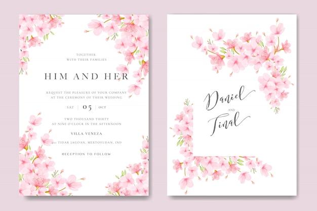 Bruiloft uitnodiging kaartsjabloon met bloemen cherry blossom ontwerp