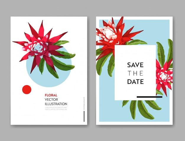Bruiloft uitnodiging kaartsjabloon met bloemen en palmbladeren.