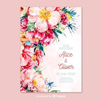 Bruiloft uitnodiging kaartsjabloon met bloemen thema