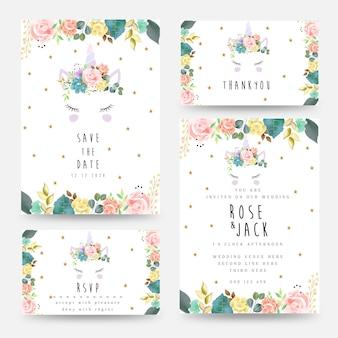 Bruiloft uitnodiging kaartsjabloon met eenhoorn en florale decoratie. bewaar de datum