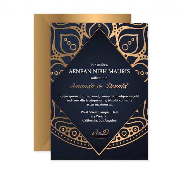 Bruiloft uitnodiging kaartsjabloon met etnische stijl, oosterse design