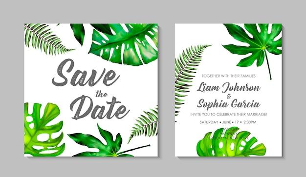 Bruiloft uitnodiging kaartsjabloon met exotische tropische bladeren.