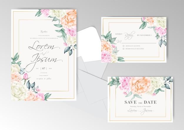 Bruiloft uitnodiging kaartsjabloon met gouden frame en bloemstuk