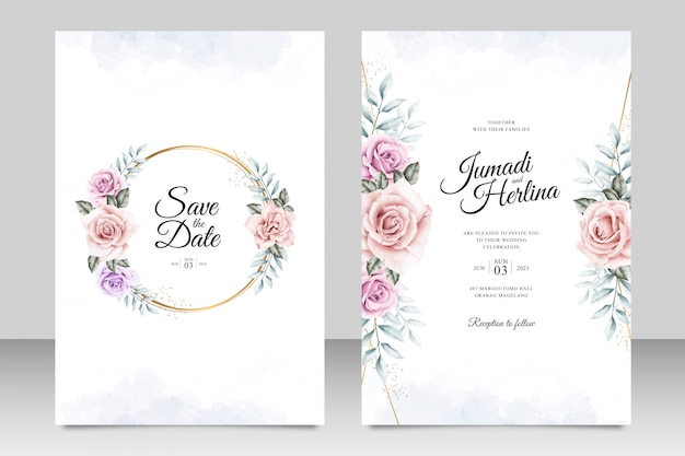 Bruiloft uitnodiging kaartsjabloon met gouden frame floral aquarel