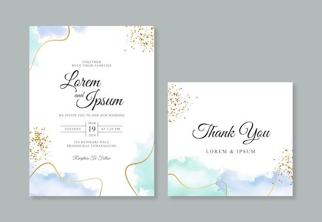 Bruiloft uitnodiging kaartsjabloon met gouden lijn en handgeschilderde aquarel spalsh