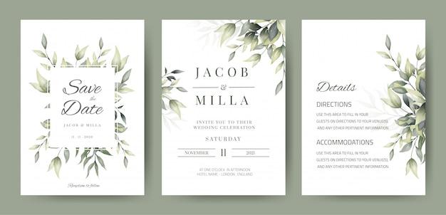 Bruiloft uitnodiging kaartsjabloon met groene bladeren decoratie