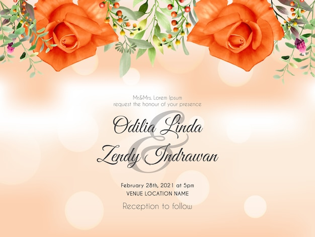 Bruiloft uitnodiging kaartsjabloon met hand getrokken oranje rozen