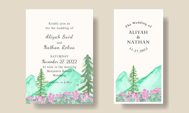 Bruiloft uitnodiging kaartsjabloon met handgeschilderde aquarel berg bomen achtergrond bewerkbare