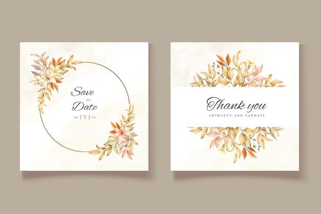 Bruiloft uitnodiging kaartsjabloon met herfstbladeren