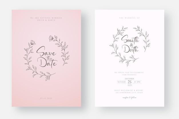Bruiloft uitnodiging kaartsjabloon met lijntekeningen bloemen