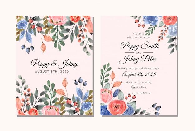 Bruiloft uitnodiging kaartsjabloon met mooie bloemen aquarel