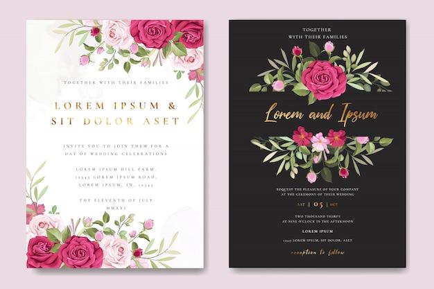 Bruiloft uitnodiging kaartsjabloon met mooie roze rozen