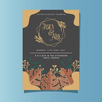 Bruiloft uitnodiging kaartsjabloon met prachtige rustieke bloemen versieren en kleurrijke bladeren