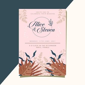 Bruiloft uitnodiging kaartsjabloon met prachtige rustieke kleurrijke bloemen en bladeren versieren