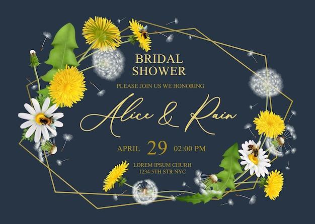 Bruiloft uitnodiging kaartsjabloon met realistische paardebloemen frame met dunne lijnen