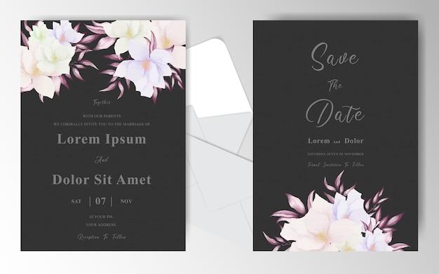 Bruiloft uitnodiging kaartsjabloon met regeling bloemen
