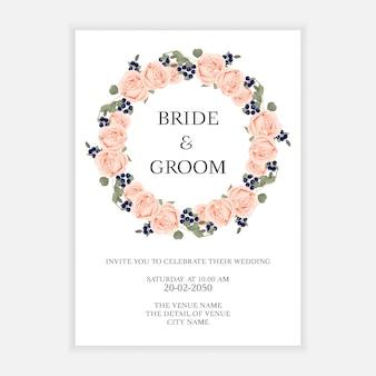Bruiloft uitnodiging kaartsjabloon met roze bloem krans