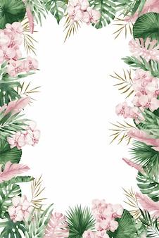 Bruiloft uitnodiging kaartsjabloon met roze lentebloemen, illustratie.