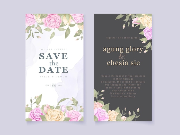 Bruiloft uitnodiging kaartsjabloon ontwerp met bloemen