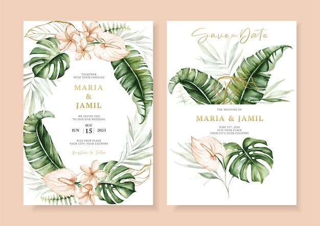 Bruiloft uitnodiging kaartsjabloon ontwerp met tropische bladeren aquarel instellen