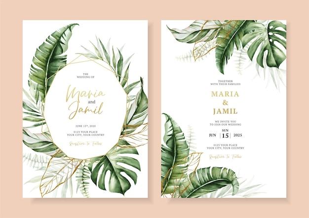 Bruiloft uitnodiging kaartsjabloon ontwerp met tropische bladeren decoratie instellen