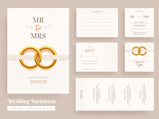 Bruiloft uitnodiging kaartsjabloon ontwerp