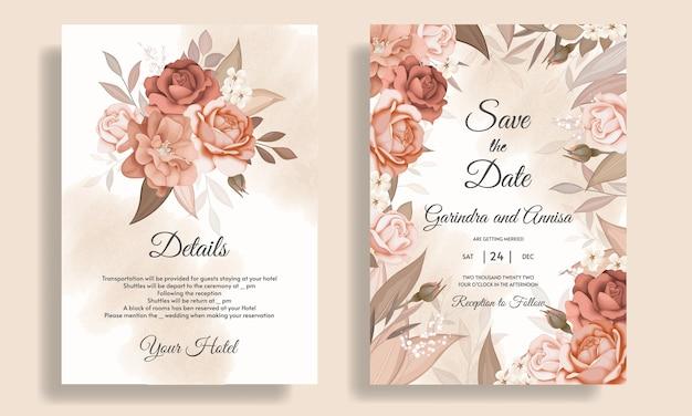 Bruiloft uitnodiging kaartsjabloon set met prachtige bloemen bladeren