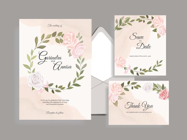 Bruiloft uitnodiging kaartsjabloon set met prachtige kleurrijke bloemen bladeren premium