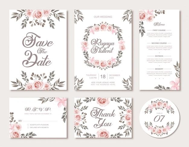 Bruiloft uitnodiging kaartsjabloon set met vintage aquarel bloemen stijl