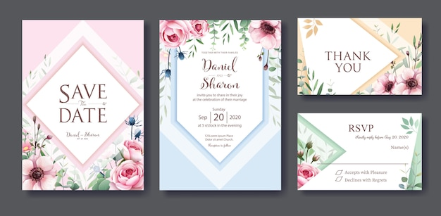 Bruiloft uitnodiging kaartsjabloon