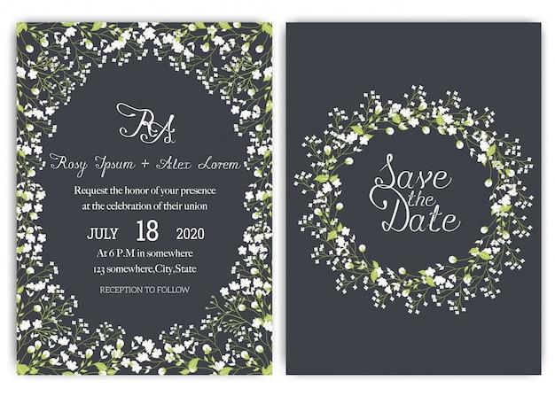 Bruiloft uitnodiging kaartsuite met daisy flower sjablonen.