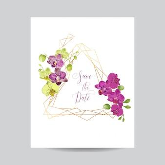 Bruiloft uitnodiging lay-out sjabloon met orchideebloemen.