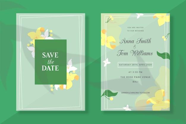 Bruiloft uitnodiging lentebloemen