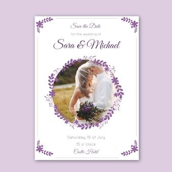 Bruiloft uitnodiging met afbeeldingssjabloon