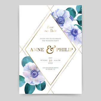 Bruiloft uitnodiging met anemonen