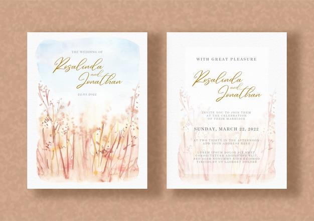 Bruiloft uitnodiging met aquarel bloemen schilderij