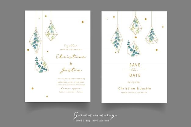 Bruiloft uitnodiging met aquarel eucalyptus bladeren