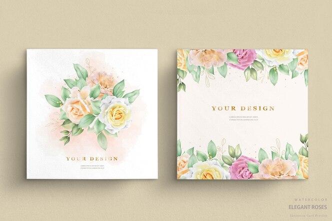 Bruiloft uitnodiging met aquarel rozen
