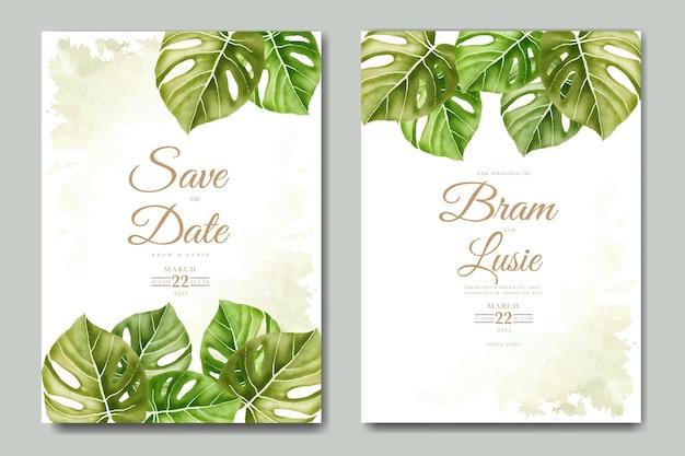 Bruiloft uitnodiging met bladeren aquarel