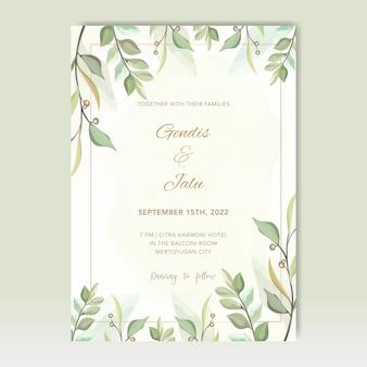 Bruiloft uitnodiging met bladeren vector