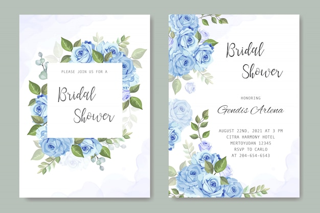 Bruiloft uitnodiging met blauwe roos