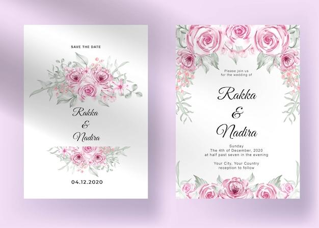 Bruiloft uitnodiging met bloem roze pastel romantische valentijn