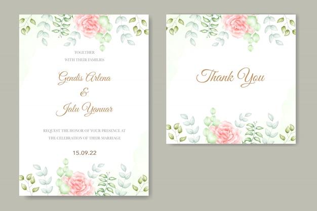 Bruiloft uitnodiging met bloemen aquarel
