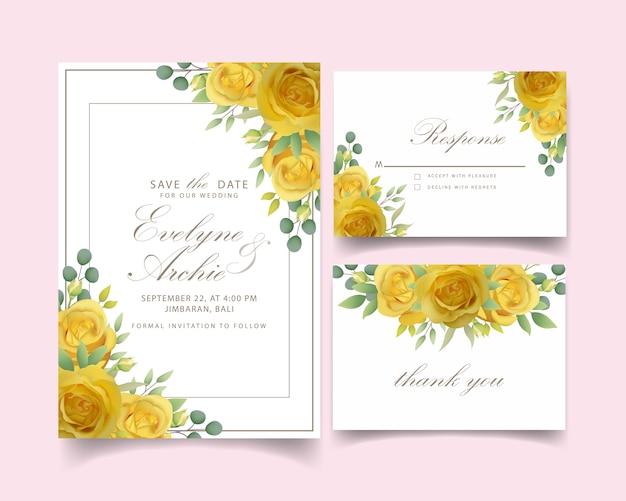 Bruiloft uitnodiging met bloemen gele roos