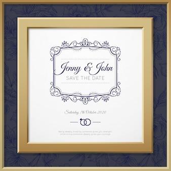 Bruiloft uitnodiging met een gouden frame