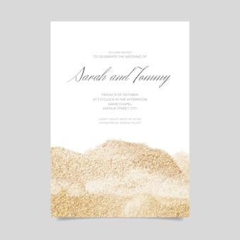 Bruiloft uitnodiging met glitter