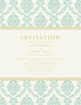 Bruiloft uitnodiging met klassieke decoratie