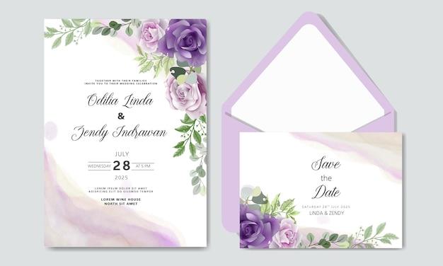 Bruiloft uitnodiging met luxe en schoonheid bloementhema's
