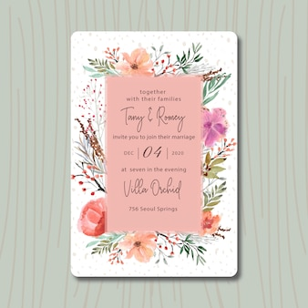 Bruiloft uitnodiging met mooie bloem