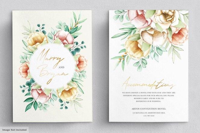 Bruiloft uitnodiging met mooie bloemen boeketten en krans aquarel set